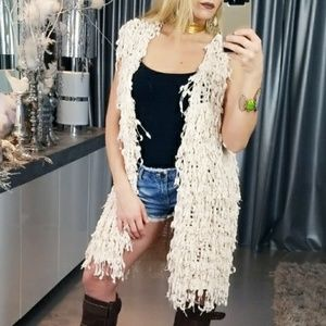 SHAG FRINGED KNIT VEST